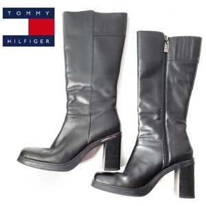 Tommy Hilfiger Black Chunky Heel Leather Boots